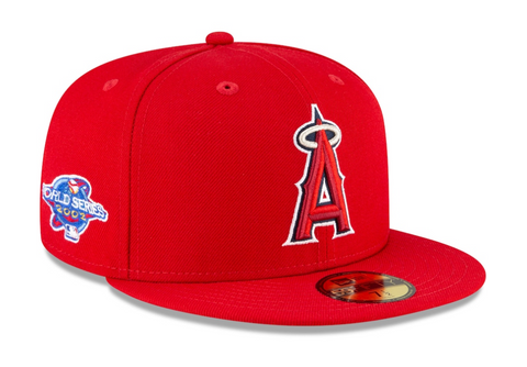 Anaheim Angels Fitted New Era 59Fifty 2002 WS Red Hat Cap Grey UV