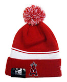 Anaheim Angeles Beanie New Era 2 in 1 Cuff Flip Embroidered Pom Red