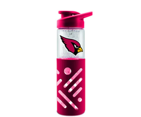 Arizona Cardinals Glass Water Bottle with Silicone Sleeve