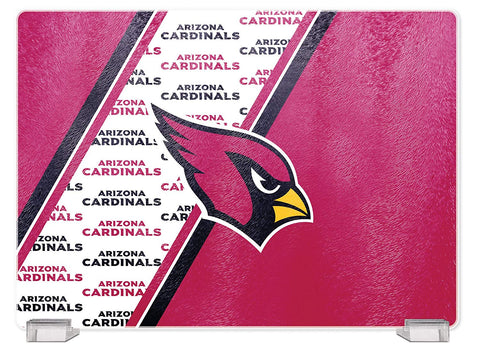 Arizona Cardinals Tempered Glass Cutting Board with Display Stand
