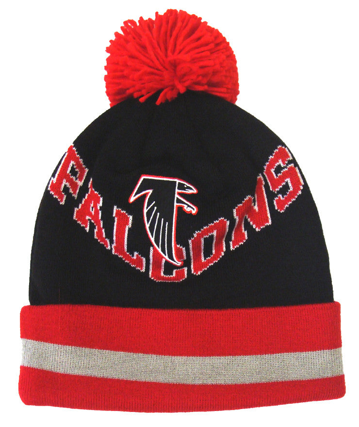 4564483ef08276 Atlanta Falcons Beanie Mitchell & Ness V Question Cuffed Pom Knit Black Red