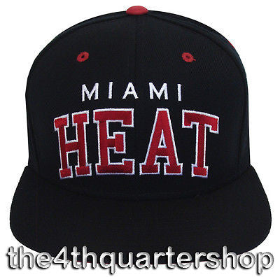 Miami Heat Snapback Retro Block Cap Hat 2 Tone All Black