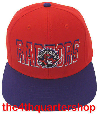 Toronto Raptors Snapback Retro Middle Block Cap Hat 2 Tone Red Purple