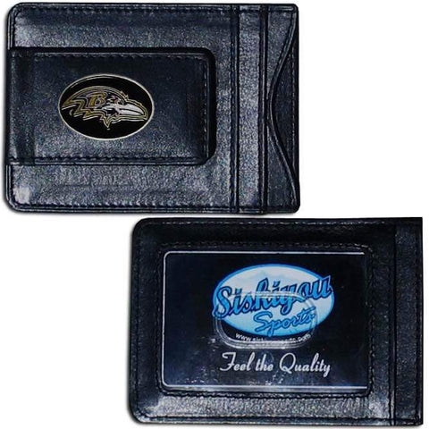 Baltimore Ravens Magnetic Leather Card Holder Money Clip Wallet