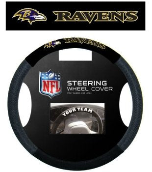 Baltimore Ravens Black Poly-suede & Mesh Steering Wheel Cover