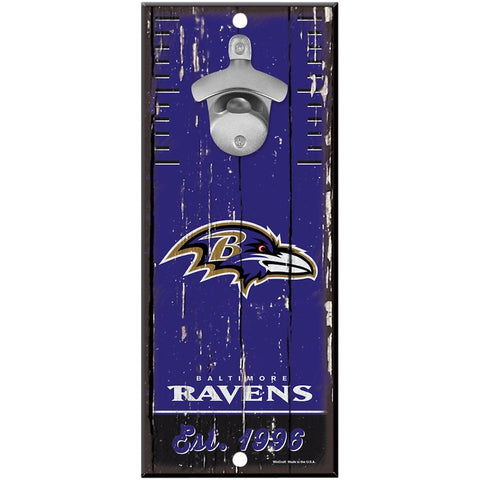 Baltimore Ravens 5X11 Wood Bottle Opener Sign