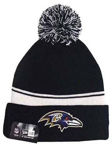 Baltimore Ravens Beanie New Era 2 in 1 Cuff Flip Embroidered Pom Black
