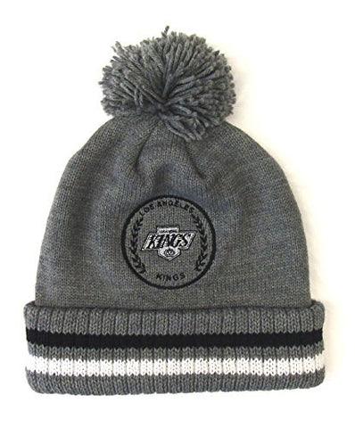 Los Angeles Kings Beanie Mitchell & Ness Soft Acrylic Knit Pom Gray Cap