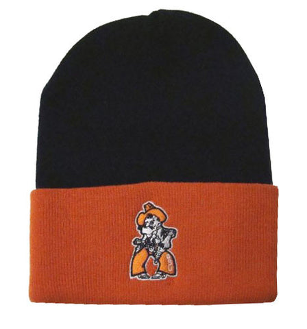Oklahoma State Cowboys Embroidered Fold Beanie Cap Black Orange
