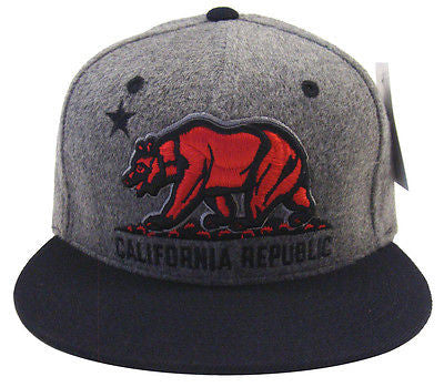 California Republic Snapback Whang Melt Cap Hat Charcoal Black