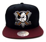 Anaheim Ducks Snapback Mitchell & Ness Logo Cap Hat Black Burgundy