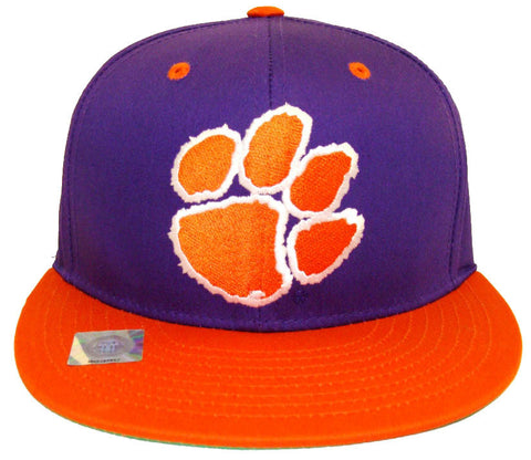 Clemson Tigers Snapback Logo Retro Cap Hat 2 Tone Purple Orange