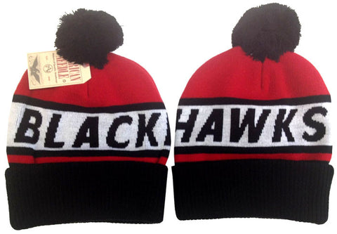 Chicago Blackhawks Beanie AN Voice Call POM Knit Ski Cap Hat