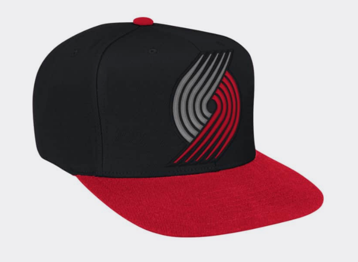 outlet store 111d4 2c047 Portland Trail Blazers Mitchell   Ness Snapback XL Logo Black Red Cap Hat