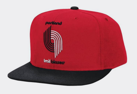 Portland Trail Blazers Logo Mitchell & Ness Snapback Red Black Cap Hat