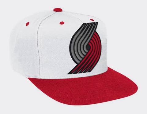 Portland Trail Blazers Mitchell & Ness Snapback XL Logo White Red Cap Hat