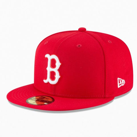 Boston Red Sox Fitted New Era 59FIFTY White 'B' Logo Red Cap Hat