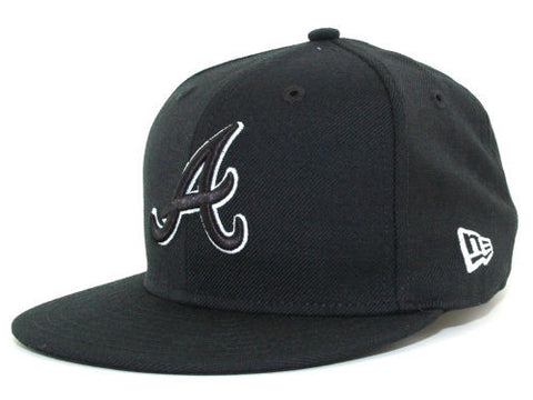 Atlanta Braves Fitted New Era 59Fifty Black Outline Hat Cap