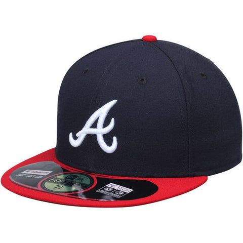 Atlanta Braves Fitted New Era 59Fifty On Field Navy Red Hat Cap