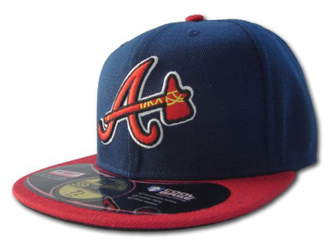 Atlanta Braves Fitted New Era 59Fifty On Field AC Alternate Navy Red Hat Cap Size 7 3/8