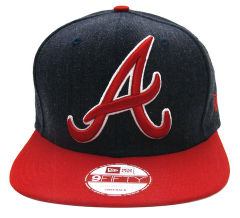 Atlanta Braves Snapback New Era Logo Grand Cap Hat Navy Red