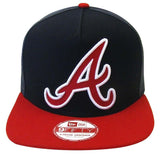 Atlanta Braves Snapback New Era 9Fifty Team Filler Cap Hat Navy Red