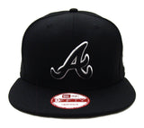 Atlanta Braves Snapback New Era Black Logo White Outline Cap Hat Black