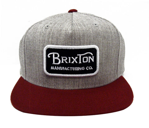 Brixton Supply Snapback Grade Cap Hat Grey Burgundy