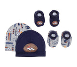 Denver Broncos Baby Infant 0-6 month 4 Piece Set 2 Beanie Caps & 2 Booties