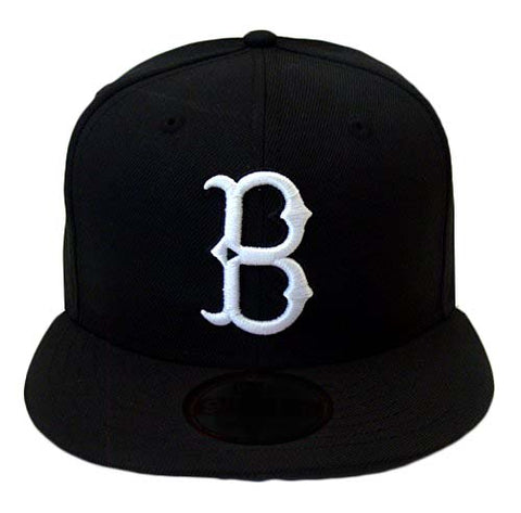 Brooklyn Dodgers Fitted New Era 59Fifty Black White Logo Hat Cap