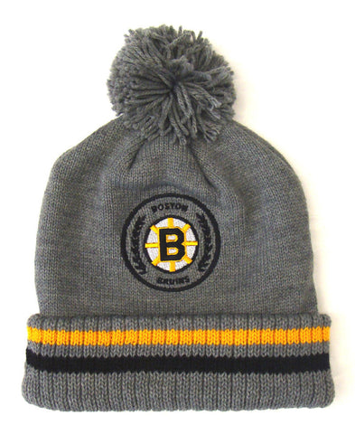 Boston Bruins Beanie Mitchell & Ness Soft Acrylic Knit Hi-5 Pom Gray
