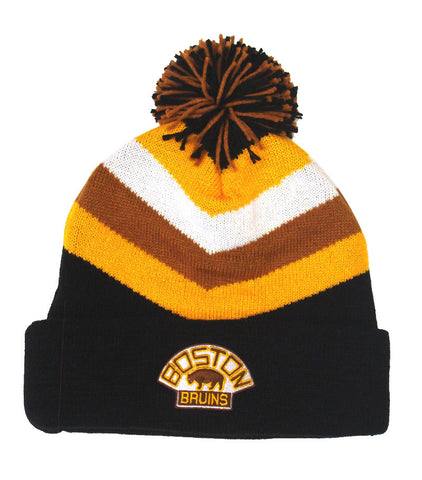 Boston Bruins Beanie Mitchell & Ness V Stripe Cuffed Pom Knit