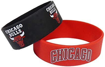 Chicago Bulls Bulk Bandz Wide Bracelet 2 Pack
