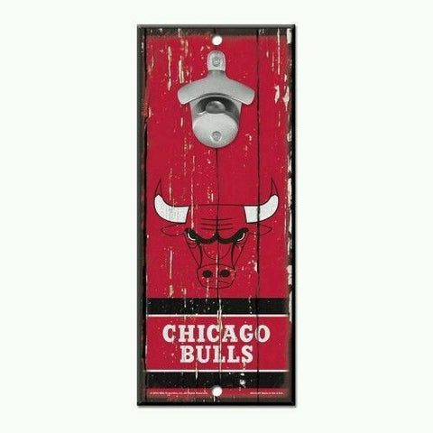 Chicago Bulls 5x11 Wood Bottle Opener Sign