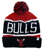 Chicago Bulls Beanie 47 Brand Calgary Pom Top Cuff Knit Ski Cap Hat Red Black