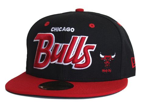 Chicago Bulls Fitted New Era 59Fifty Script Black Red Cap Hat Size 7 1/4