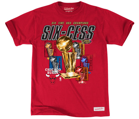 Chicago Bulls Mens Six-cess Mitchell & Ness NBA Champions T-Shirt Red