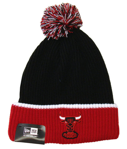 Chicago Bulls Beanie New Era Embroidered Pom Fold Cap Black Red