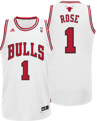 Chicago Bulls Mens Adidas Derrick Rose #1 Swingman Jersey White
