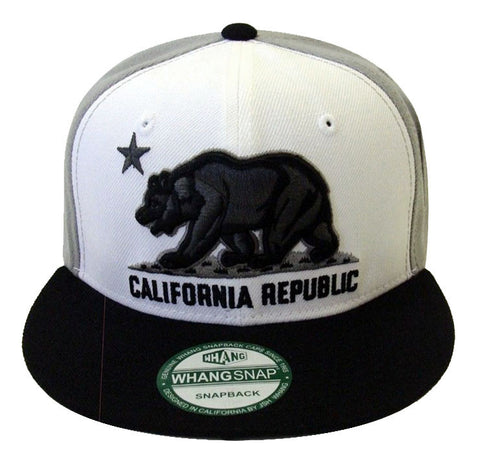California Republic Snapback Whang Charcoal Bear BO Retro Cap Hat Grey Black