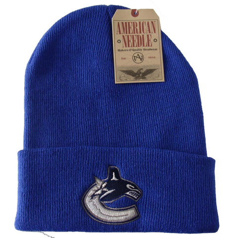 Vancouver Canucks Beanie AN Embroidered Folded Ski Cap Blue
