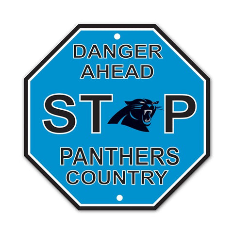 Carolina Panthers Bar Home Decor Plastic Stop Sign