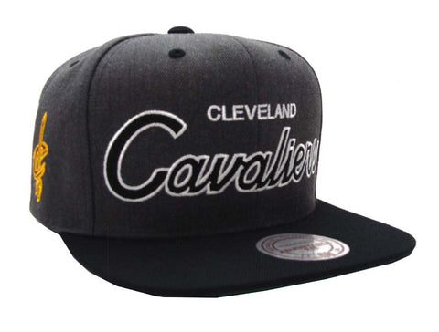 Cleveland Cavaliers Snapback Mitchell & Ness Script Cap Hat Charcoal Black