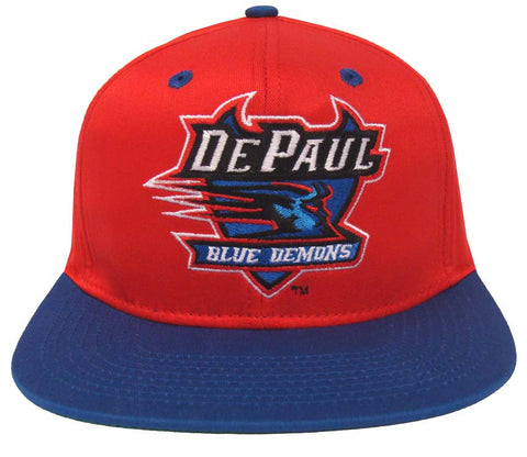 De Paul Blue Demons Snapback Logo Retro Cap Hat Red Blue