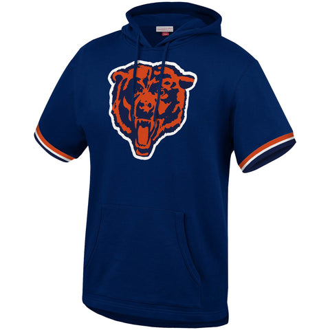Chicago Bears Mens Sweatshirt Mitchell & Ness French Terry Short Sleeve Hooded Pullover