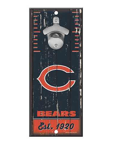 Chicago Bears 5X11 Wood Bottle Opener Sign