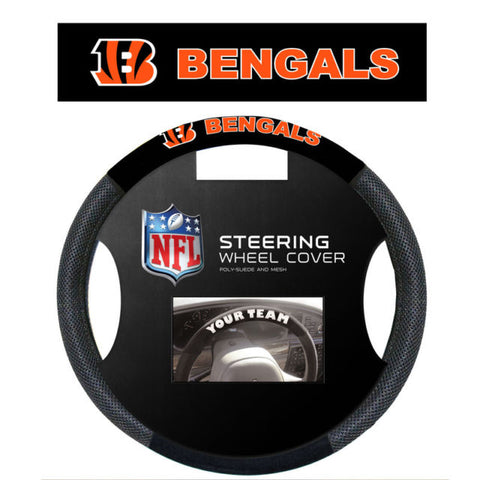 Cincinnati Bengals Black Poly-suede & Mesh Steering Wheel Cover