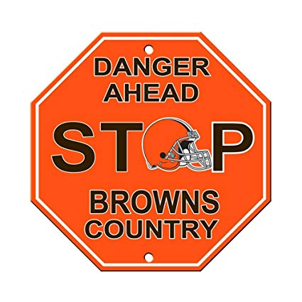 Cleveland Browns Bar Home Decor Plastic Stop Sign