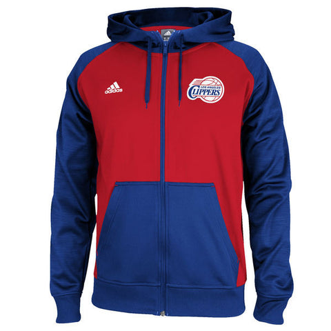 Los Angeles Clippers Mens Adidas Pregame Hooded Full Zip Sweatshirt