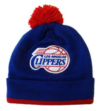 Los Angeles Clippers Beanie Mitchell & Ness Jersey Stripe Pom Top Cuff Knit Cap